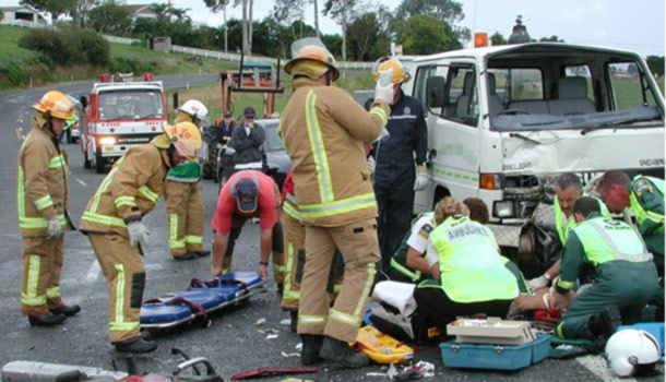 Accident scene of a car crash